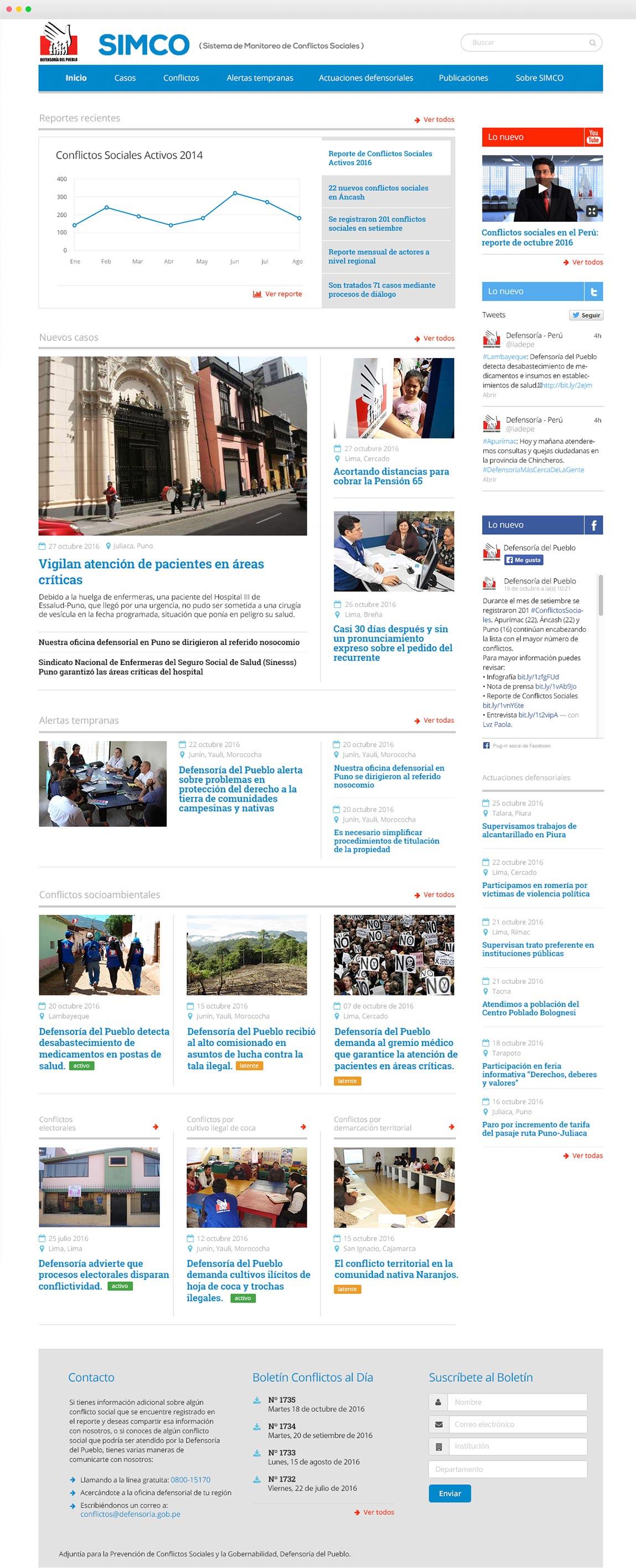 En Enjoit realizamos el diseño de contenidos, interfaces web y portal del Sistema de Monitoreo de Conflictos Sociales (SIMCO) de la Defensoría del Pueblo.